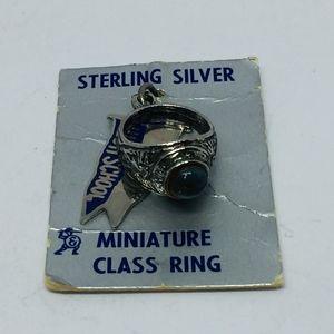 NWT Sterling High School Ring Charm Blue Crystal
